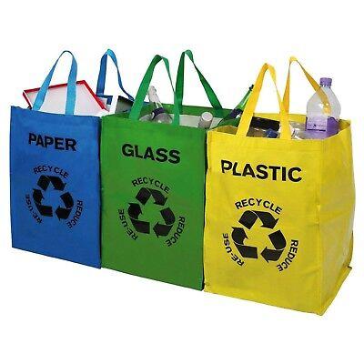Set of 3 Recycle Sorting Bags Bin Glass / Plastic / (Recycle Bin Paper)