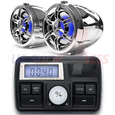 Bluetooth Motorcycle Audio Amplifier Stereo Speaker System MP3 USB Waterproof