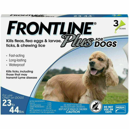 SALE! NEW Frontline Plus FLEA & TICK TREATMENT Dogs 23 - 44 lbs Medium 3 Doses!