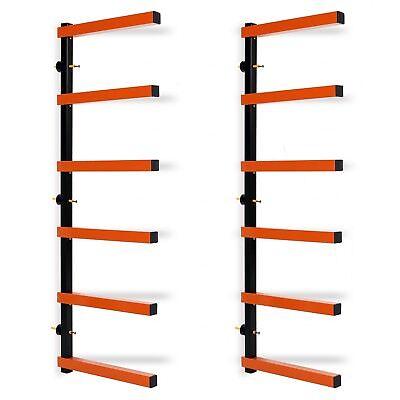 6 Shelf Lumber Wood Storage Rack Steel Wall-Mounted Indoor/Outdoor 600lb -