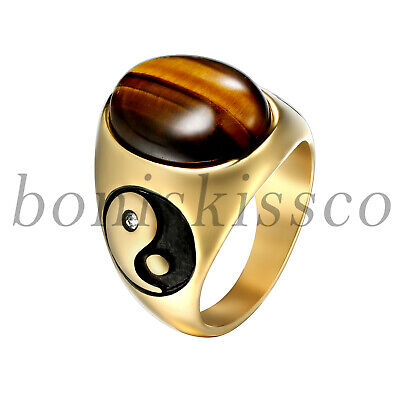 Mens Vintage Bagua Yinyang Oval Tiger Eye Stone Stainless Steel Band Ring -