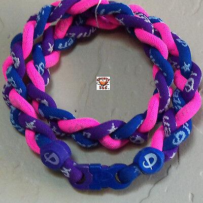 - Phiten Titanium Triple Braid Necklace: Royal Blue/Purple/Pink Custom