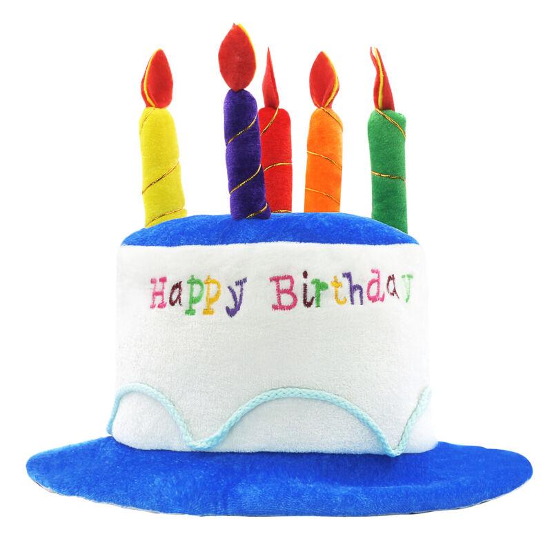 Novelty Place Pink Plush Happy Birthday Cake Hat - Fancy Dress Party Hats