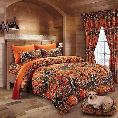 Camouflage Full Comforter Set - 7 PC WOODS ORANGE CAMO COMFORTER AND SHEET SET FULL SIZE! CAMOUFLAGE!