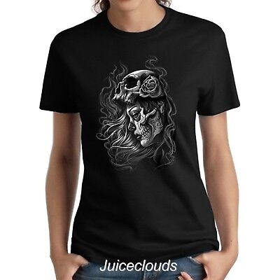 Sugar Skull Ladies Shirt Day Of The Dead Luctus Girl Tattoo Women's Tee (Day Of Dead Girl Tattoo)