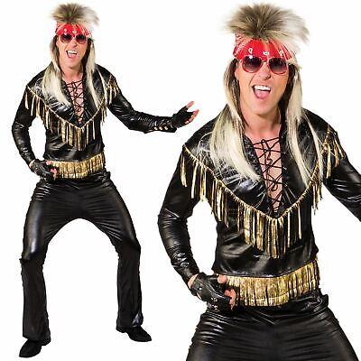 Herren Rock Star Kostüm 80s Glam Rocker Musik Kostüm Outfit - Rock Musiker Kostüm