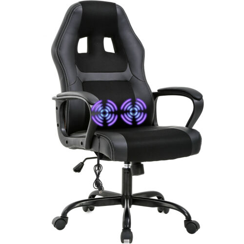 PC Gaming Chair Massage Office Chair Ergonomic Desk Chair Adjustable PU Leather