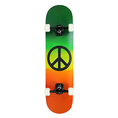 PRO Skateboard Complete RASTA Peace Sign ASSEMBLED 7.75