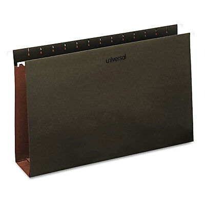 Universal Three Inch Box Bottom Pressboard Hanging Folders Legal Standard Green