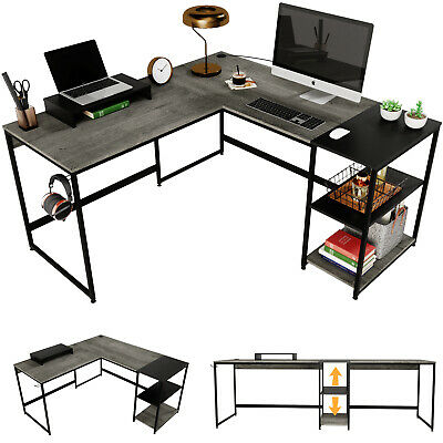 Computer Gaming L Shaped Desk Corner Rustic Table Home Office Study Workstation