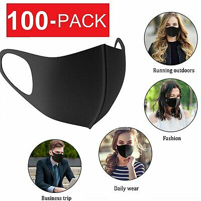 100-Pack Face Mask Black Fashion Washable Reusable Breathable Double Layer Accessories