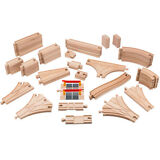 Playbees Wooden Train Track Toy Set 59 Pieces Compatible w/ Brio, Thomas