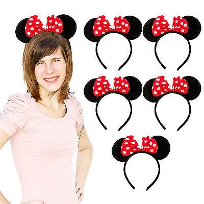 6 Haarreifen mit Maus Ohren + Schleife Rot Weiß Mouse Haarreif Fasching Karneval