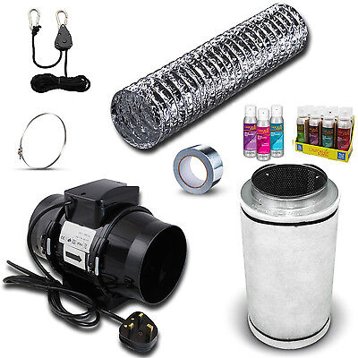 "5"" Carbon Filter, In Line Fan & Duct Kit - Hydroponic Tent Room Grow Ventilation"