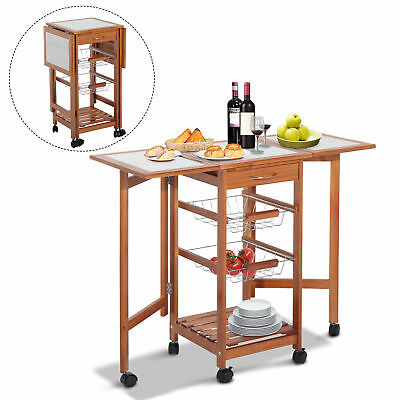 Portable Rolling Drop Leaf Kitchen Storage Island Cart Trolley Folding Table