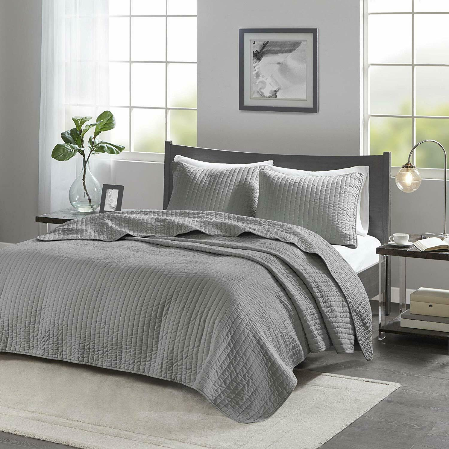 Madison Park Gray 2-Pcs Jaxson Coverlet Set 1 Sham Size:Twin