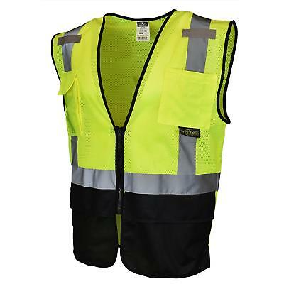 Radians Class 2 Reflective Black Bottom Safety Vest With Pockets Yellowlime