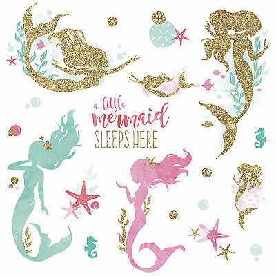LITTLE MERMAID SLEEPS HERE Glittery WALL DECALS Girl Room Stickers Nursery Decor