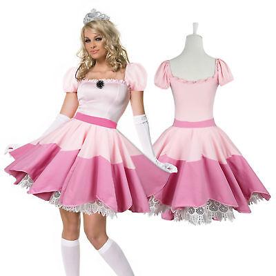 rinzessin Kleid&Tiara&Handschuhe Peach Kostüm Party Cosplay  (Super Mario Prinzessin Kostüm)