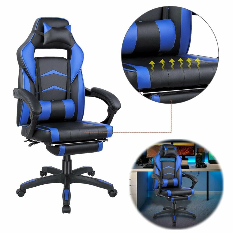 Gaming Chair Ergonomic Racing Style Leather Office Swivel Recline Footrest Seat