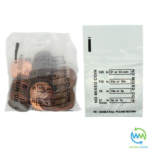 100 x Plastic COIN BAGS No Mixed Coins MONEY BANK Retail CHANGE Denominated Bag