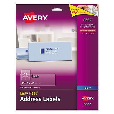 Avery Clear Easy Peel Address Labels Inkjet 1 13 X 4 350pack 8662