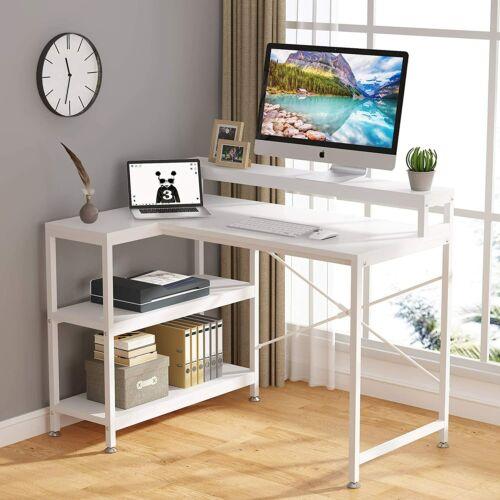 L Shaped Gaming Desk Corner Desk w/Monitor Stand Riser,Study Writing Workstation