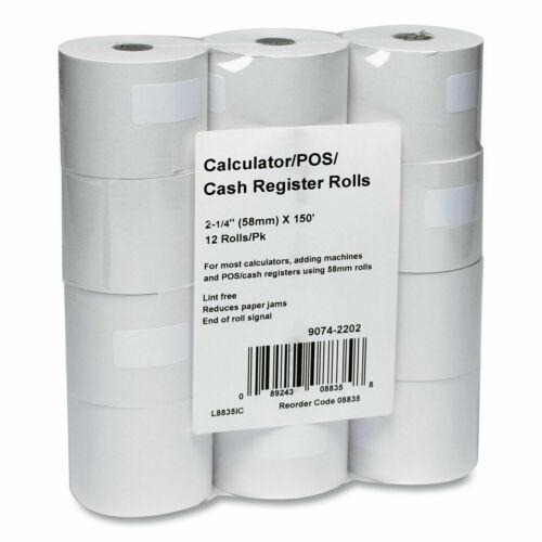 "12 ICONEX 8835 Impact Bond Paper Rolls 2.25"" x 150"
