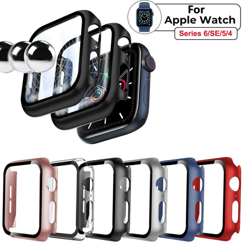 For Apple Watch Series 6 5 4 SE 3 2 1 iWatch Screen Protector Case Snap On Cover