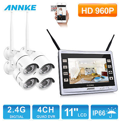 ANNKE 11-inch Monitor 960P Wireless 4CH DVR NVR WLAN Security Camera System 1.3M