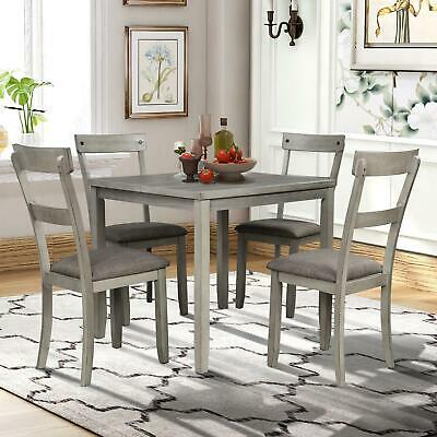 5 Piece Dining Table Set Industrial Wooden Kitchen Table and Chairs for Dining Room