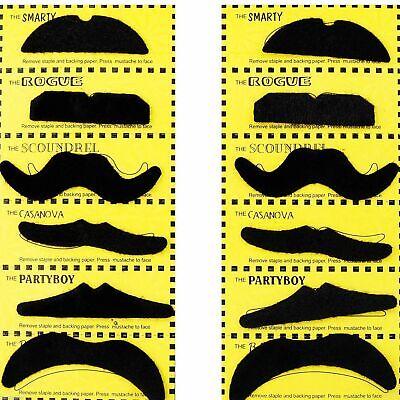 6 oder 12 Packung Selbstklebend Verschiedene Falsche Schnurrbart Set - Falschen Schnurrbart Kostüm