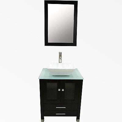 """Bathroom Vanity Top 24"""" Cabinet Wood Single Vessel Sink Bowl Faucet Mirror Set"""