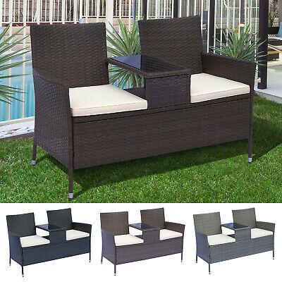 Garden Furniture - 2 Seater Loveseat Garden Patio Tea Table Outdoor Furniture Rattan Wicker