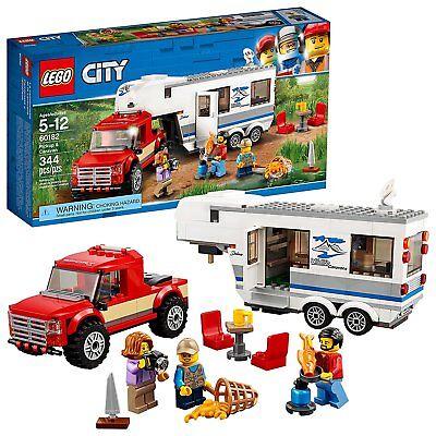 LEGO City Pickup & Caravan Camping Vacation 344 Piece Kids Blocks Building Kit