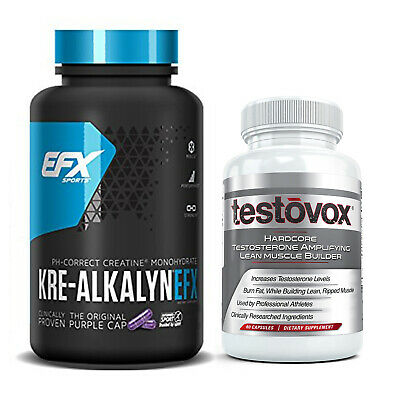 Kre-Alkalyn + TESTOVOX Professional Muscle Building Supplement Stack - 240 Pills
