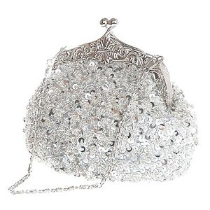 Shiny Sequin Beads Ornate Style Wedding Evening Party Cocktail Clutch Purse Prom