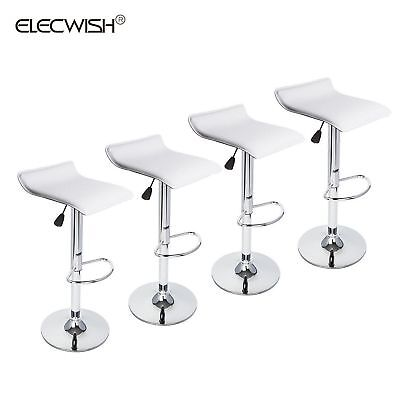 Set of 4 Adjustable Counter Dining Chair Bar Stool Backless Swivel Seat White US