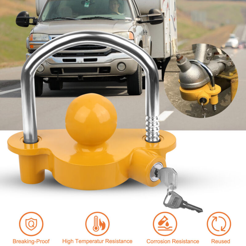 Trailer Hitch Coupler Lock Trailer Lock Adjustable Anti-Theft Hitch Ball Lock US