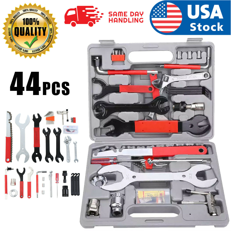 44PCS Complete Bike Bicycle Repair Tools Tool Kit Set Home Mechanic Cycling New Bicycle Maintenance & Tools