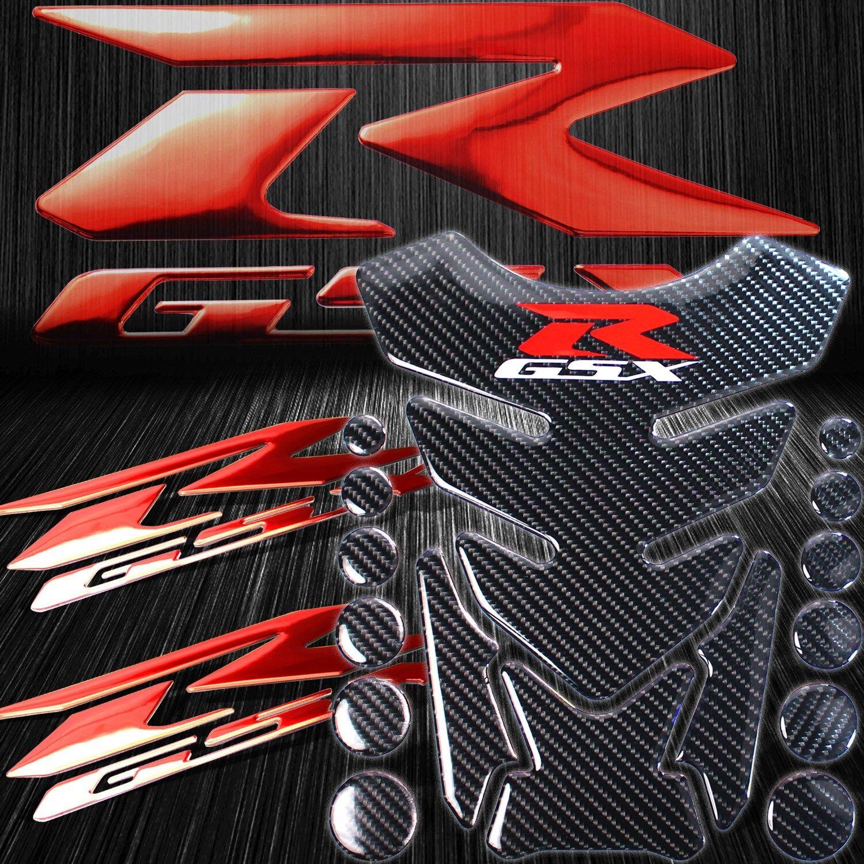 "Chrome Carbon Look Fuel Tank Pad+3D 8/""Logo/&Letter+Red/&Silver GSXR Emblem Sticker"