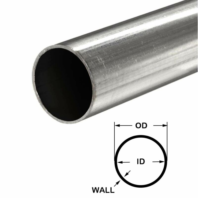 "316 Stainless Steel Round Tube, 1-1/2"" OD x 0.065"" Wall x 36"" long"
