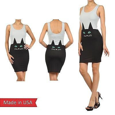 Black Cat Print Anime Cosplay Sexy Bodycon Mini Midi Halloween Pencil Dress USA](Black Cat Dress)