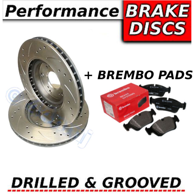 FORD MONDEO 2.3 07-10 Drilled & Grooved FRONT Brake Discs + Brembo Pads