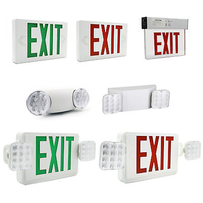 - LED Exit Sign Emergency Light Red/Green Compact Combo Fire Safety Battery Backup