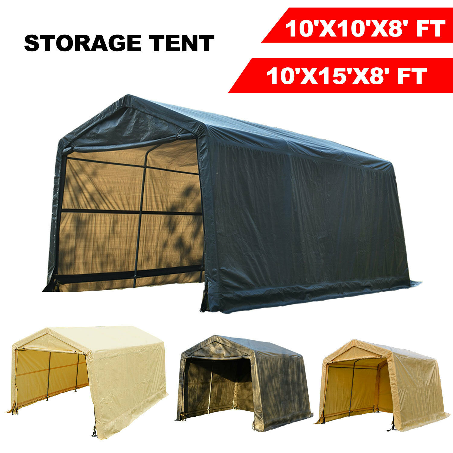 10'x10'x8'/10'x15'x8'FT Storage Shed Tent Shelter Car Garage