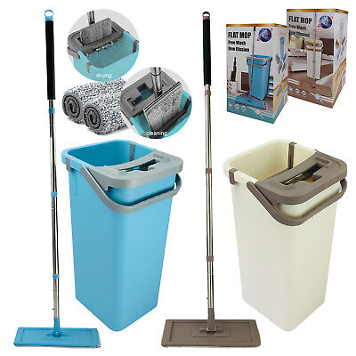 Wash & Dry Flat Mop Head Pad Bucket Set All Floor Cleaner Home Cleaning System Wash Mop