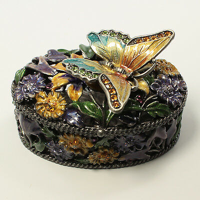 Bejeweled Trinket Box - Bejeweled flower motif trinket box with butterfly on top, Faberge figurine