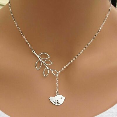 Love Bird and Leaf Pendant Y Necklace Lariat Quality 925 Sterling Silver Filled