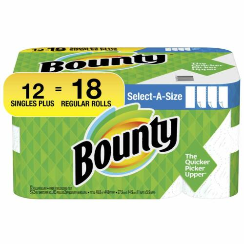 Bounty Select-A-Size Kitchen Rolls Paper Towels, 2-Ply, 83 Sheets/Roll, 12 Rolls